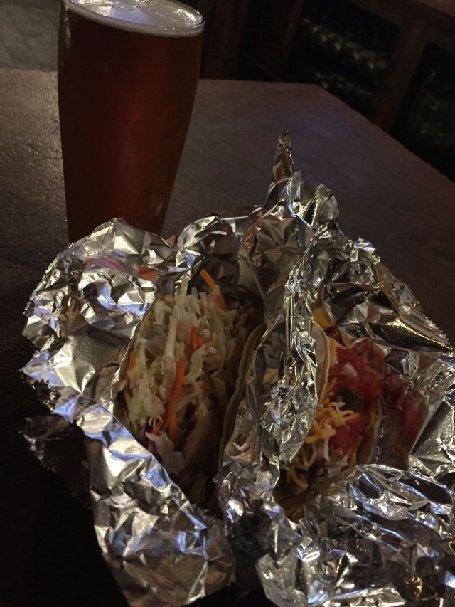 two tacos and a beer