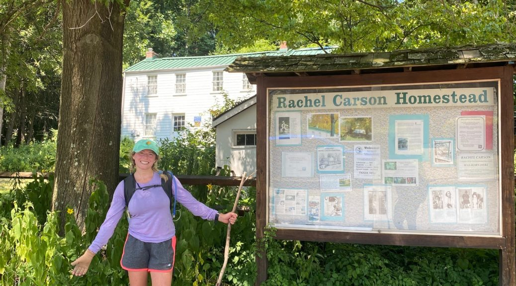 in front of Rachel Carson house.