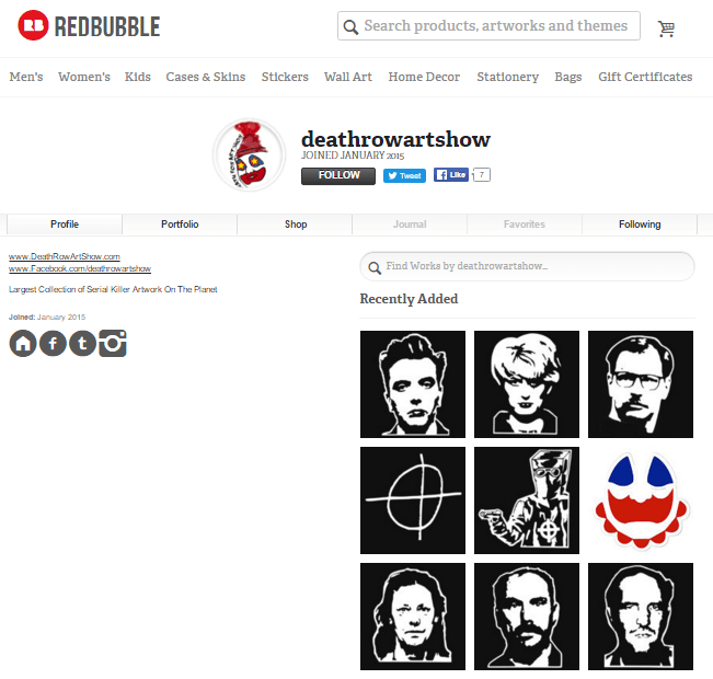 Death row art show is a Redbubble independant user who exclusively designs clothing around death row inmates such as Ian Brady and Myra Hindley.