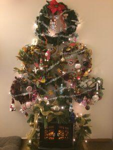 Homemade Christmas tree wreath