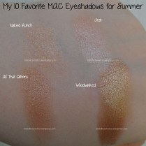 Naked Lunch, Jest, All That Glitters and Woodwinked M·A·C eyeshadows swatches
