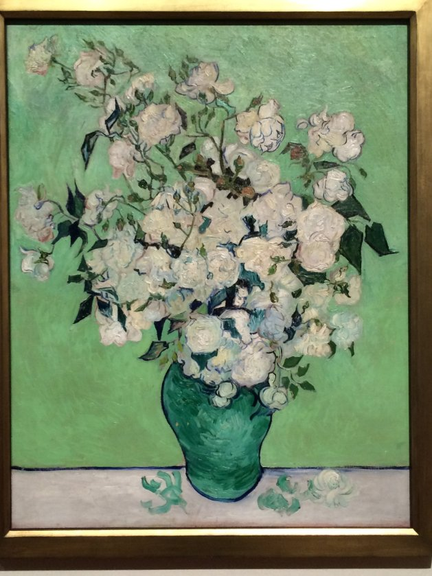 "Van Gogh, Roses, 1890, o/c, 36 5/8"" x 29 1/8"" (93 cm x 74 cm), The Metropolitan Museum of Art, NYC."