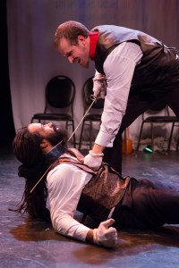 C. Walker, Jr. as Mondego & Tom Frank as Monte Cristo in Jared Reinmuth's Monte Cristo, at Urban Stages in NYC Jan 22 - Feb 13, 2016