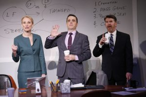 L-R Carrie Paff, Mark Anderson Phillips, and Michael Ray Wisely in IDEATION by Aaron Loeb, directed by Josh Costello. Photo Carol Rosegg