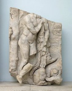 Herakles Finding The Infant Telephos Suckled by a Lioness, from the Telephus Frieze of the Great Altar of Pergamon, found in a Byzantine wall in Pergamon