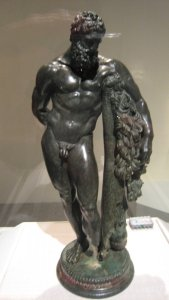"Weary Herakles (Resting Herakles) 3rd century B.C. Hellenistic bronze from Sulmona, Italia, from the exhibit ""Pergamon and the Hellenistic Kingdoms of the Ancient World"""
