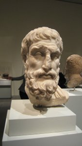 "Portrait of Epickouros, Roman marble copy of a Hellenistic original, in ""Pergamon and the Hellenistic Kingdoms of the Ancient World,"" MMA, NYC"