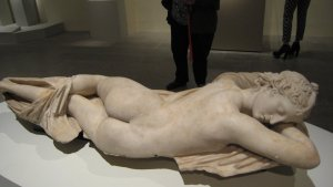 """Sleeping Hermaphrodite, Roman, first half of the 2nd century A.D., copy of a Greek original, marble, in """"Pergamon and the Hellenistic Kingdoms of the Ancient World"""" Metropolitan Museum, NYC"""