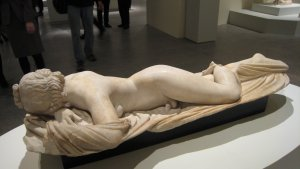 """Sleeping Hermaphrodite, Roman copy of a Greek original of the 2nd century B.C. in """"Pergamon and the Hellenistic Kingdoms of the Ancient World, Metropolitan Museum. NYC"""