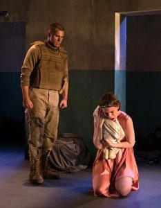 Phil Feldman as Talthybius and Casey Wortmann as Andromache in The Trojan Women at the Flea Theater. Photo Allison Stock.