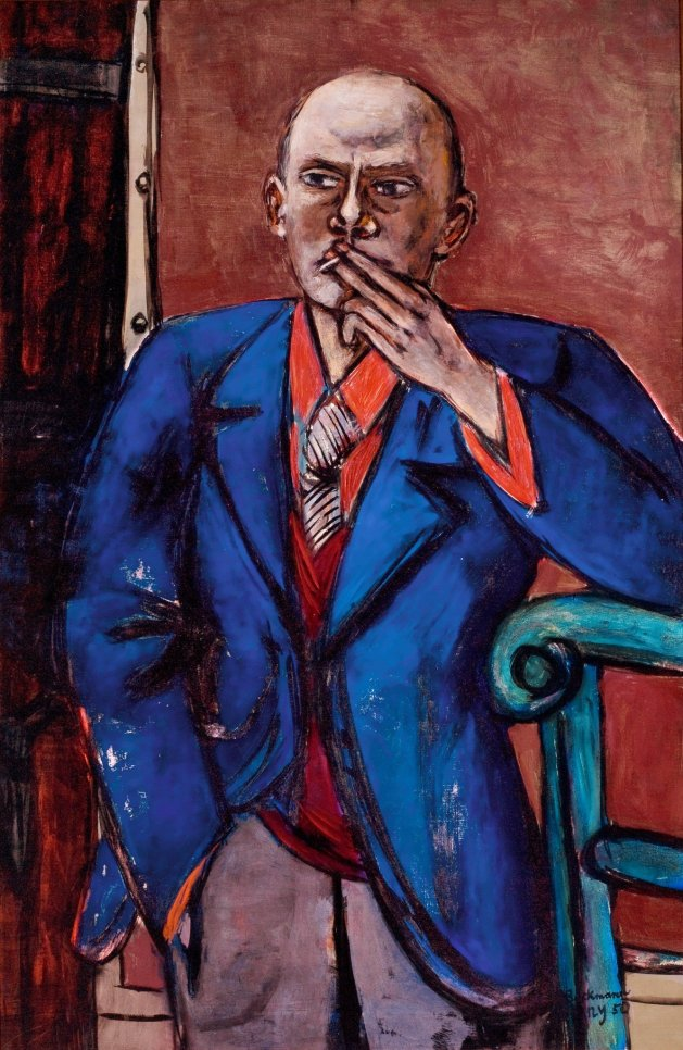 "Max Beckmann, Self-Portrait in Blue Jacket, 1950, o/c, 55 1/8 x 36"" (140 x 91.4 cm), Saint Louis Art Museum, Bequet of Morton D. May, c. 2016 Artists Rights Society, NY/ VGBild-Kunst, Bonn"