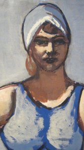 Max Beckmann,Quappi in Blue in a Boat, detail