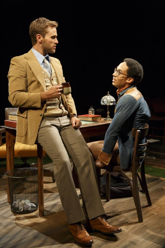 TEACHER AND STUDENT L-R Dan Amboyer as Dan Proctor and Rodney Richardson and Gerald Caskey. Photo Joan Marcus.