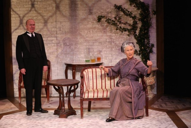 L-R Derek Hutchinson and Richenda Carey. Photo Carol Rosegg. in J. B. Priestley's The Roundabout at 59E59 Theaters April 20 - May 28, 2017