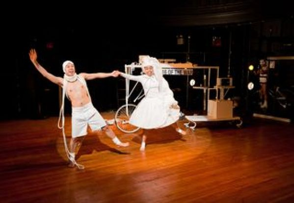 Jon Norman Schneider as Suez Cheese and Nikki Calonge as Birdie in NAATCO's <em>A Play on Words.</em> Photographer William P. Steele