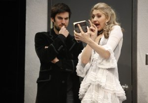 Wes Bentley and Nina Arianda in Venus in Fur take a close look at Sacher-Masoch's well-thumbed novel. Photo courtesy of Classic Stage Company