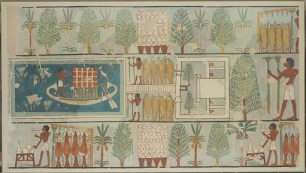 A funeral ritual in a garden. Wall painting in the Theban tomb of Nakhtmin, early 18th Dynasty, ca. 1450. Facsimile painting by Charles K. Wilkinson, 1921. The Metropolitan Museum of Art, Rogers Fund, 1930. Photo: Museum.