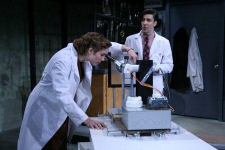 Kristen Bush as Rosalind Franklin and David Gelles as Laboratory Assistant Ray Gosling.  Photo:  Gerry Goodstein