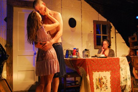 L- R: Mandy Nicole Moore as Shirley Judyhouse, Nick Lawson as Pointer Scully, Sarah Lemp as the mother Bean Scully. Photo: Annie Parisse.