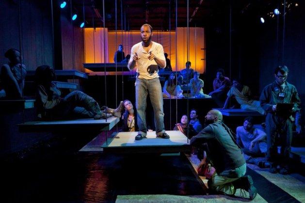Future Anxiety | Ugo Chukwu as Karl recruiting for a space trip. Photo: Richard Termine