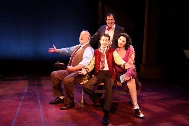 Enter Laughing, The Musical :  Richard Kind (standing) as Harrison Marlowe;  L-R, Erick Devine as Mr. Pike, Josh Grisetti as David Kolowitz, Kate Schindle as Angela Marlowe.  Photo by Jerry Lamonica