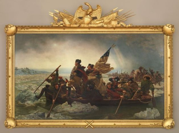 the huge painting by Emanuel Leutz of <em>Washington Crossing the Delaware </em>of 1851