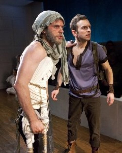Seth Moore as Philoktetes and Alex Herrald as Neoptolemus, photo Laura June Kirsch, courtesy Flea Theater