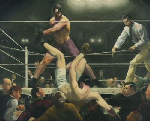 Dempsey and Firpo, 1924, oil on canvas, 51x63 1/4 in (129.5x160.7 cm) Whitney Museum of American Art, Purchase, with funds from Gertrude Vanderbilt Whitney.  Photo Sheldon C. Collins.