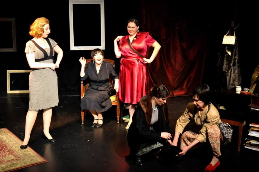 The Symposium: L-R Kimberly Faye Greenberg as Lillian Hellman, Dorothy Weems as Dorothy Parker, Kim Rogers as Agatha Christie, Kristen Gehling as Muriel Gardiner, Penny Lynn White as Alice B. Toklas.  Photo: Samantha Mercado Tudda