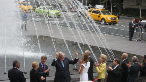 The moment the fountains of the new David H. Koch Plaza at the Metropolitan Museum were first (officially) turned on