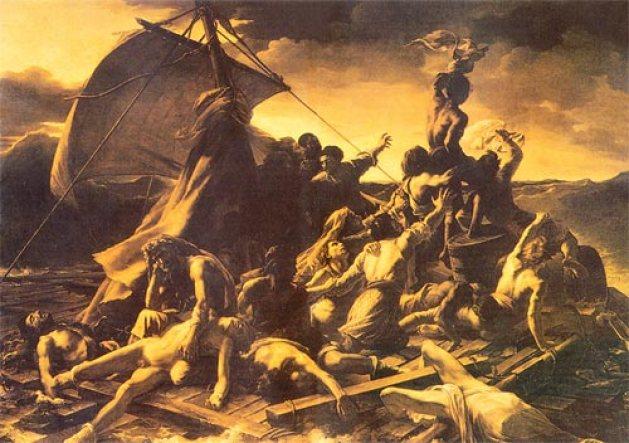 Adrift at sea:(below) Theodore Gericault (1791-1824) The Raft of the Medusa, 1819, oil on canvas, Paris: Louvre Museum, H. 4.91 m., W. 7.16 m