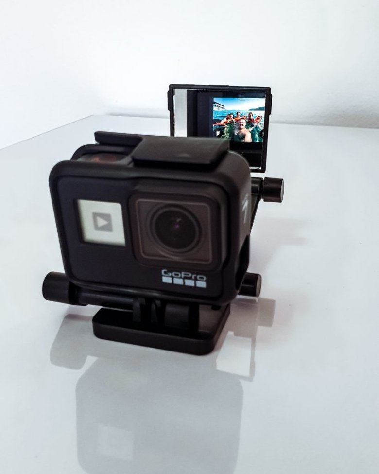 the GoPro vlog flip screen mirror in action used for vlogging