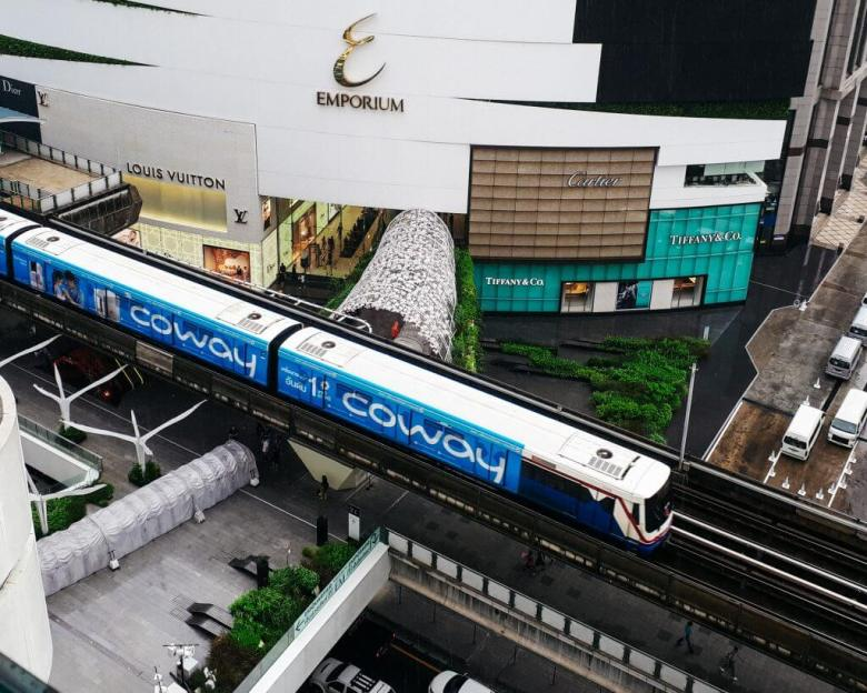 The BTS skytrain as transport in Bangkok Thailand