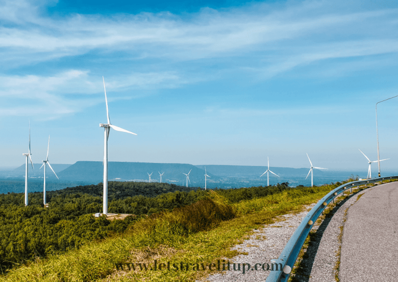 The windmill farm with wind turbines on top of a hill here in Khao Yai.