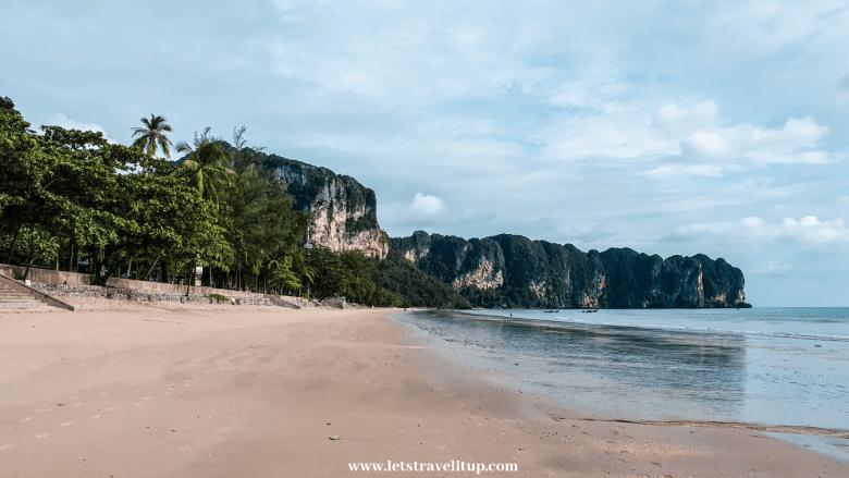 The beautiful 1 kilometre long Ao Nang beach in Krabi, Thailand.