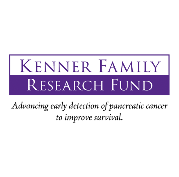 Kenner Family Research Fund logo in purple and white with black text tag line