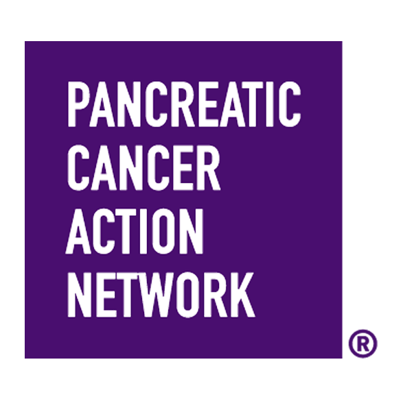 Pancreatic Cancer Action Network logo with white letters on a purple background