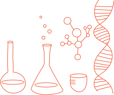Cartoon illustration of flask, beaker, bowl, molecule, and DNA double helix