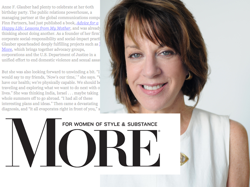 Collage of light text, More magazine logo, and photo of Anne Glauber