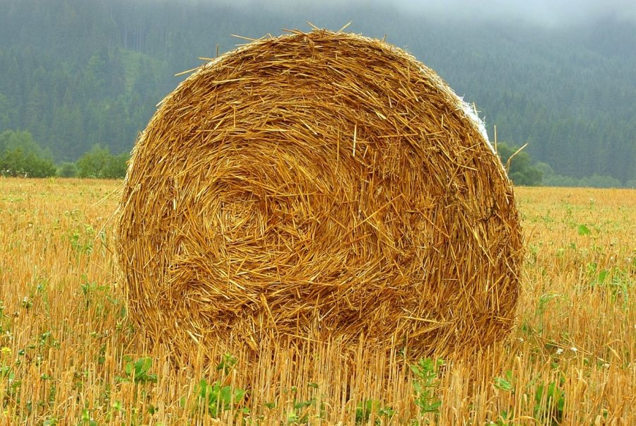 Large rolled hay bale sitting in the center of a field with green mountains in the background