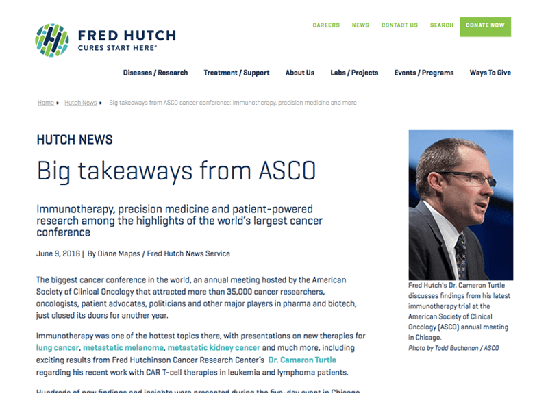Collage Of Fred Hutch Logo In Blues And Greens, And Text Of Article