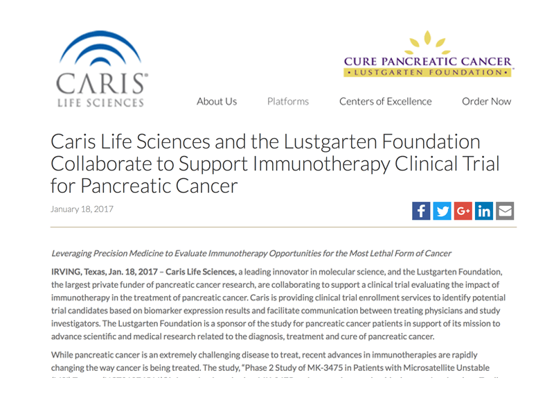 Caris Life Sciences And The Lustgarten Foundation Collaborate To Support Immunotherapy Clinical Trial For Pancreatic Cancer
