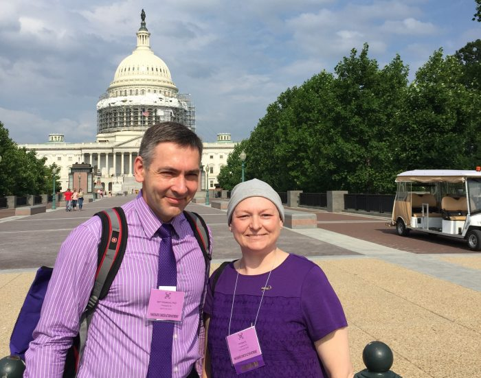Dr. Igor Astsatsurov and pancreatic cancer patient Melissa Kartasevich at the Capitol in Washington, DC