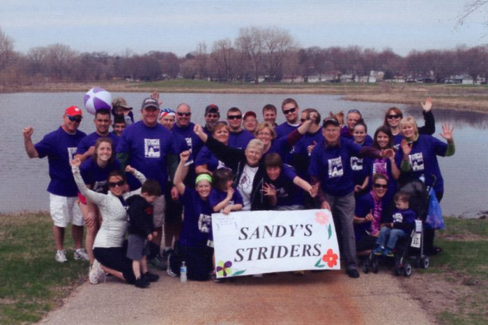 Pancreatic cancer survivor Sandra Wilke and her Purple Stride team