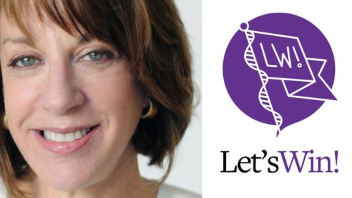 Anne Glauber, Let's Win founder and pancreatic cancer patient, in close up, on the left, and purple and white Let's Win logo on right