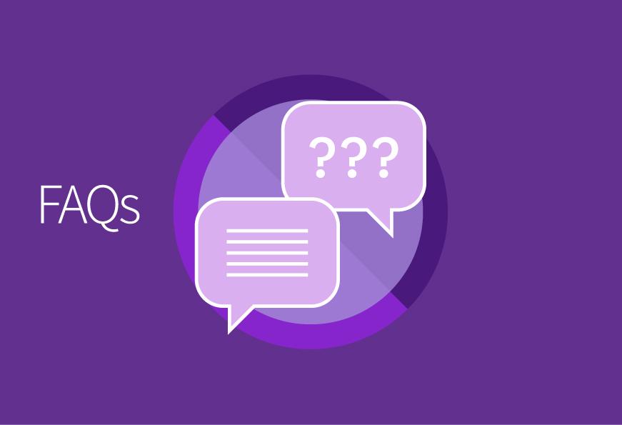 FAQs on a purple background with an icon showing speech bubbles with question marks and lines for text