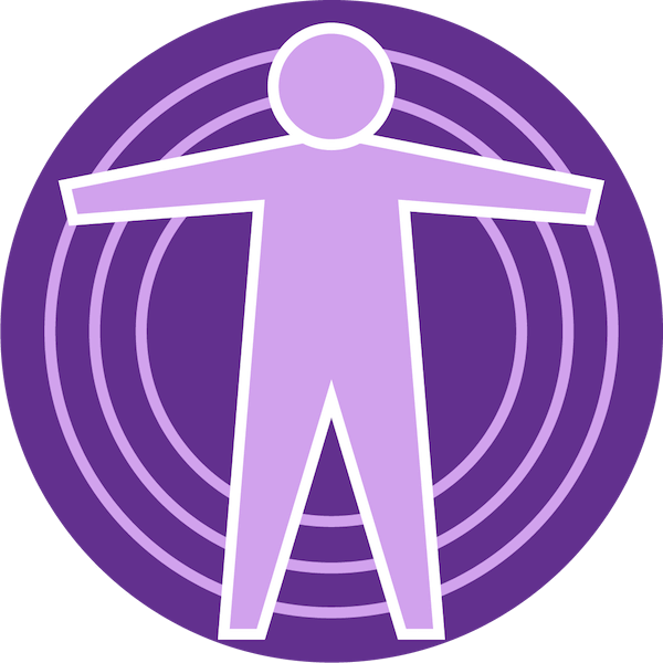 Icon for symptoms with an outline of a person surrounded by circles in dark and light purple