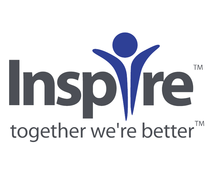 Inspire logo in dark gray and royal blue