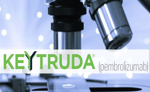 photo of a microscope in a blue-gray tint with the Keytruda logo in green and blue over the lower third of the image