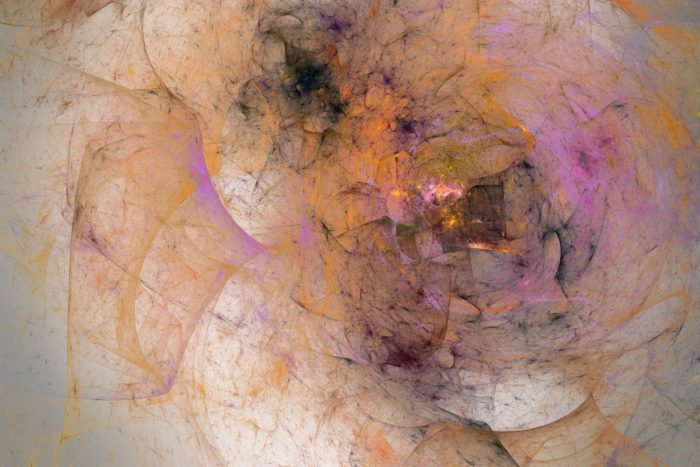 Abstract image of wisps of orange, black, and pink coming together in a tangle in a confused center, on a pale background shows what chemo brain looks like to David Trick, who is undergoing chemotherapy for stage IV colorectal cancer.